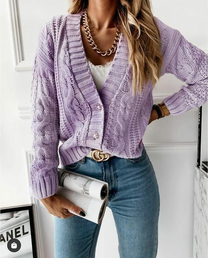 Cardigan en maille violet
